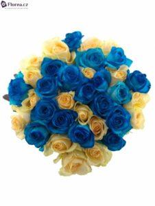 Krásná kombinace modrých a žlutých růží - bezva dárek
